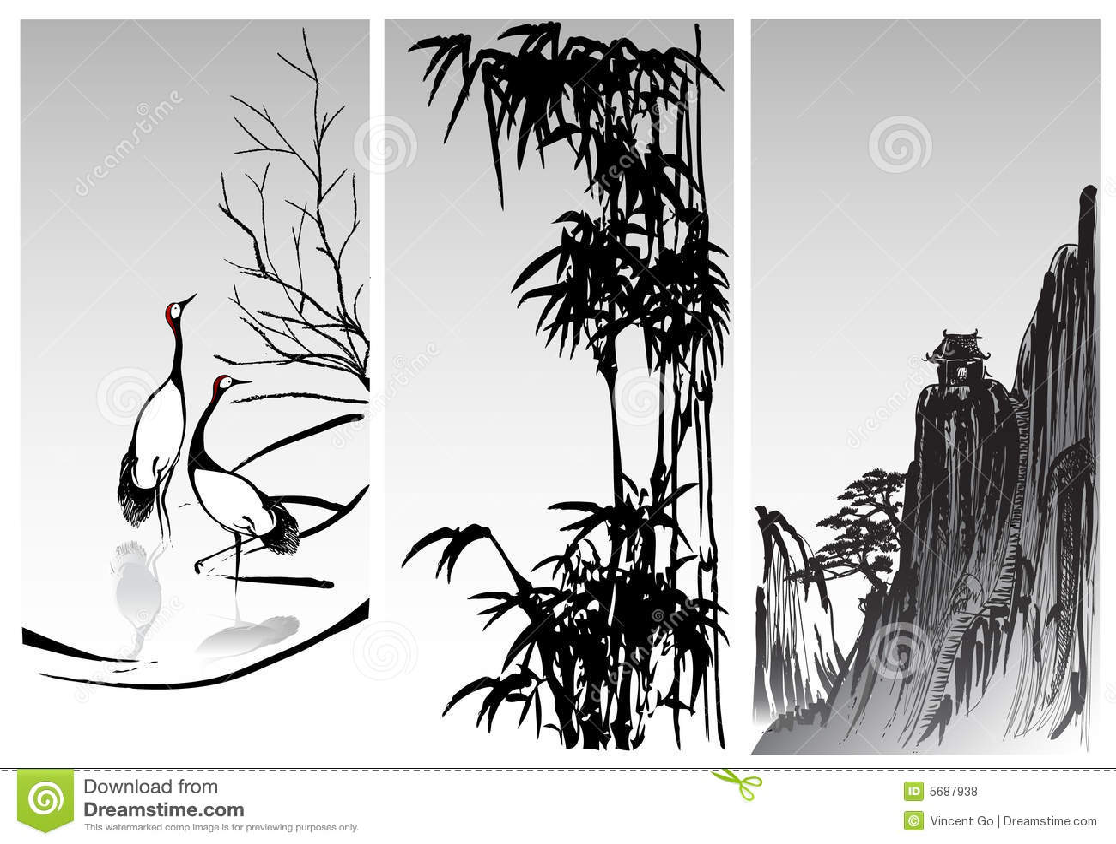 oriental paintings stock vector  illustration of illustration