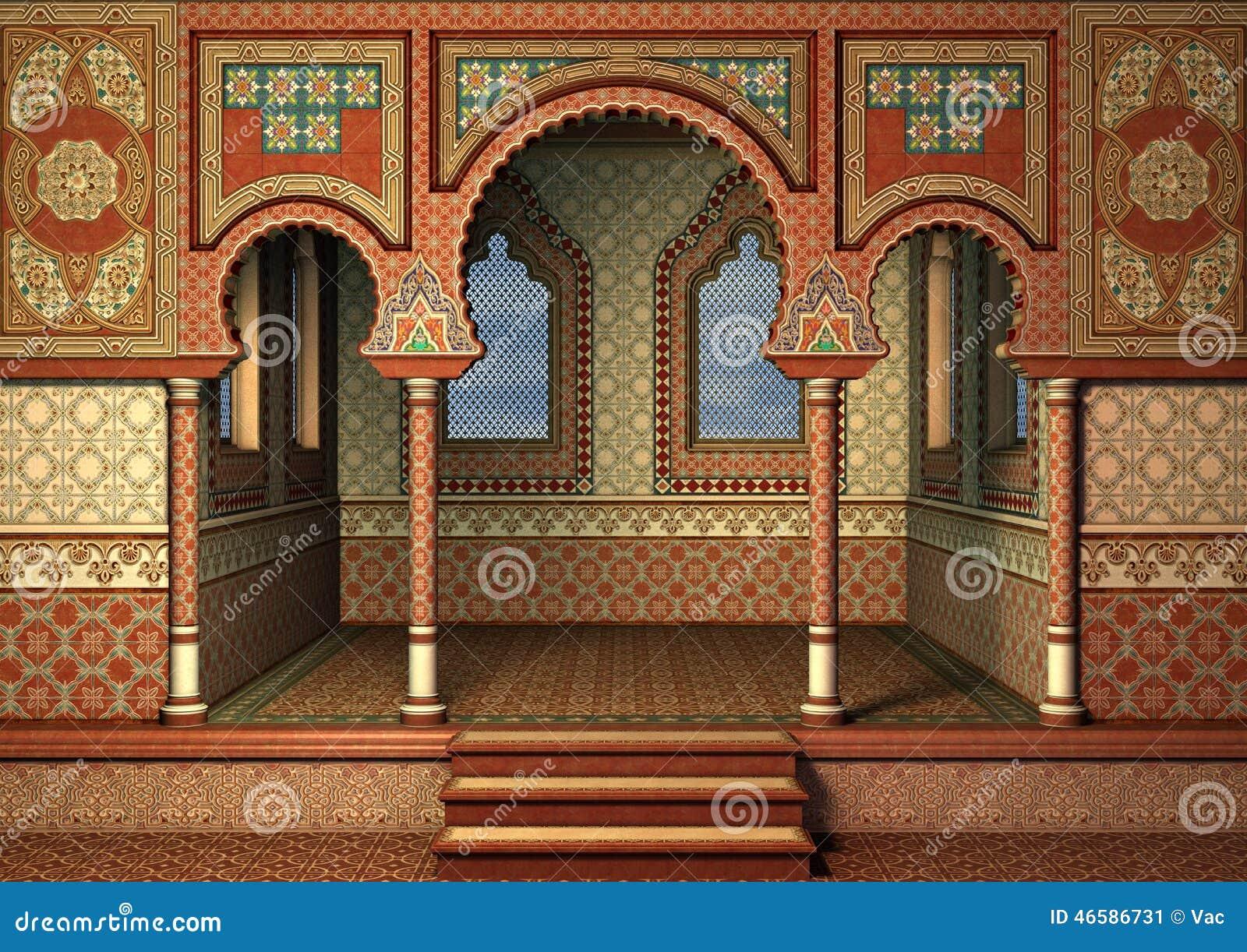 3D digital render of a fairytale oriental palace, blue sky in the ...