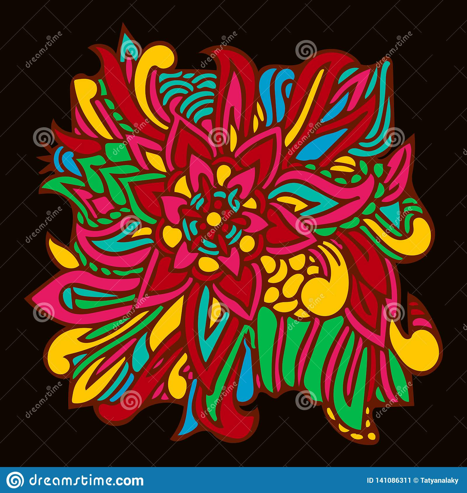 Oriental pattern element colorful leaves