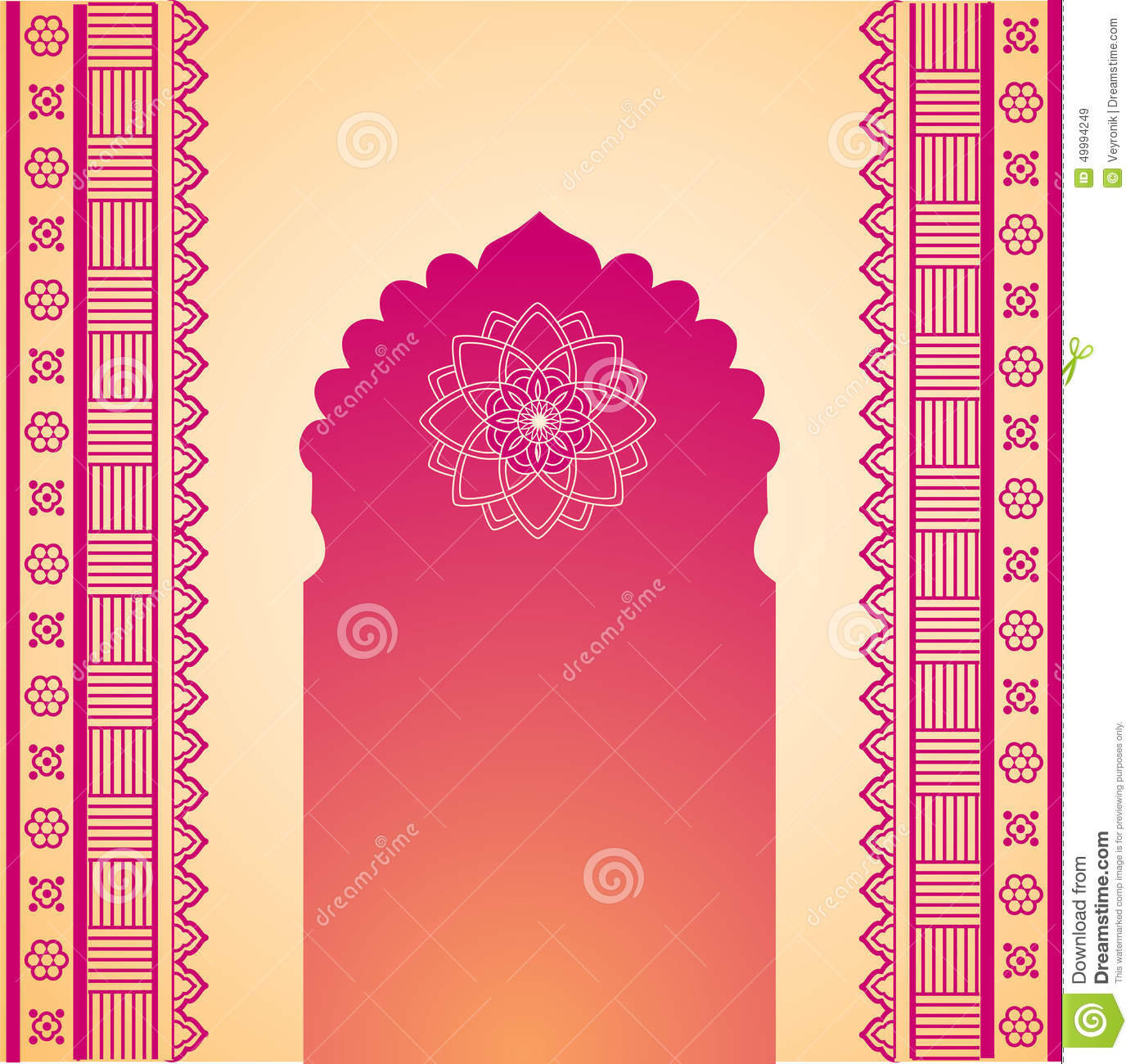 oriental pink and cream henna temple gate background stock