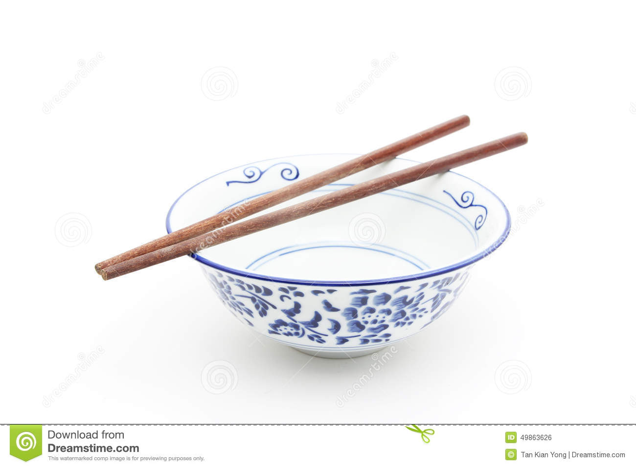 Oriental round bowl with chopsticks