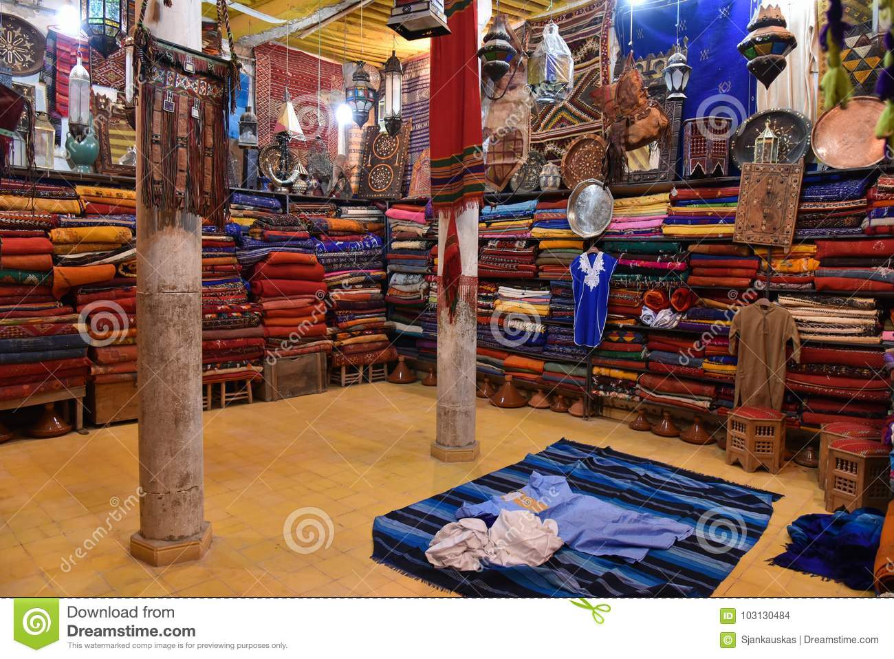Oriental Shop In Morocco Colorful Fabrics Stock Photo Image Of