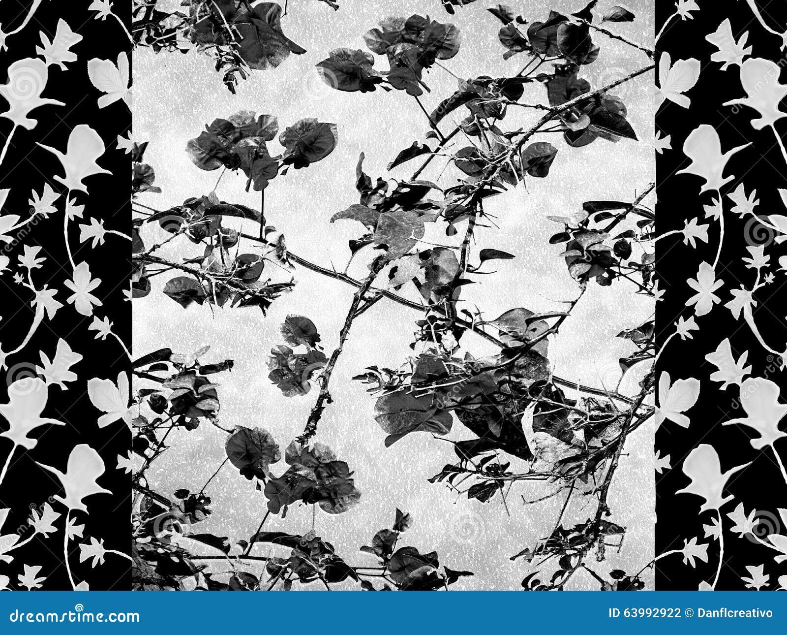 Oriental Striped Floral Collage Stock Illustration - Illustration of ...