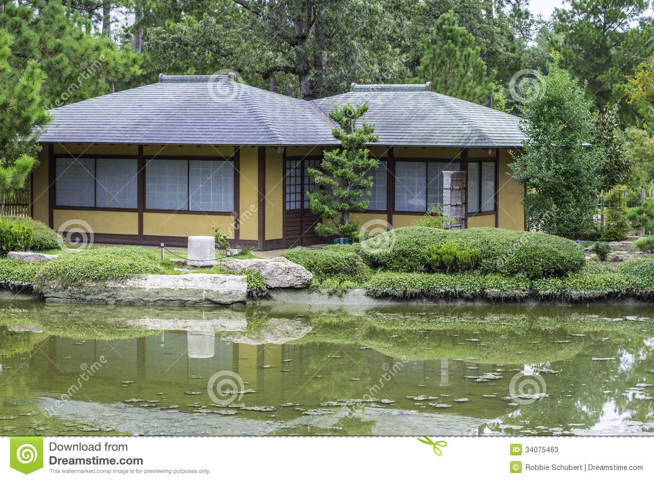 Oriental style home stock photos image 34075463 for Garden pond unlimited