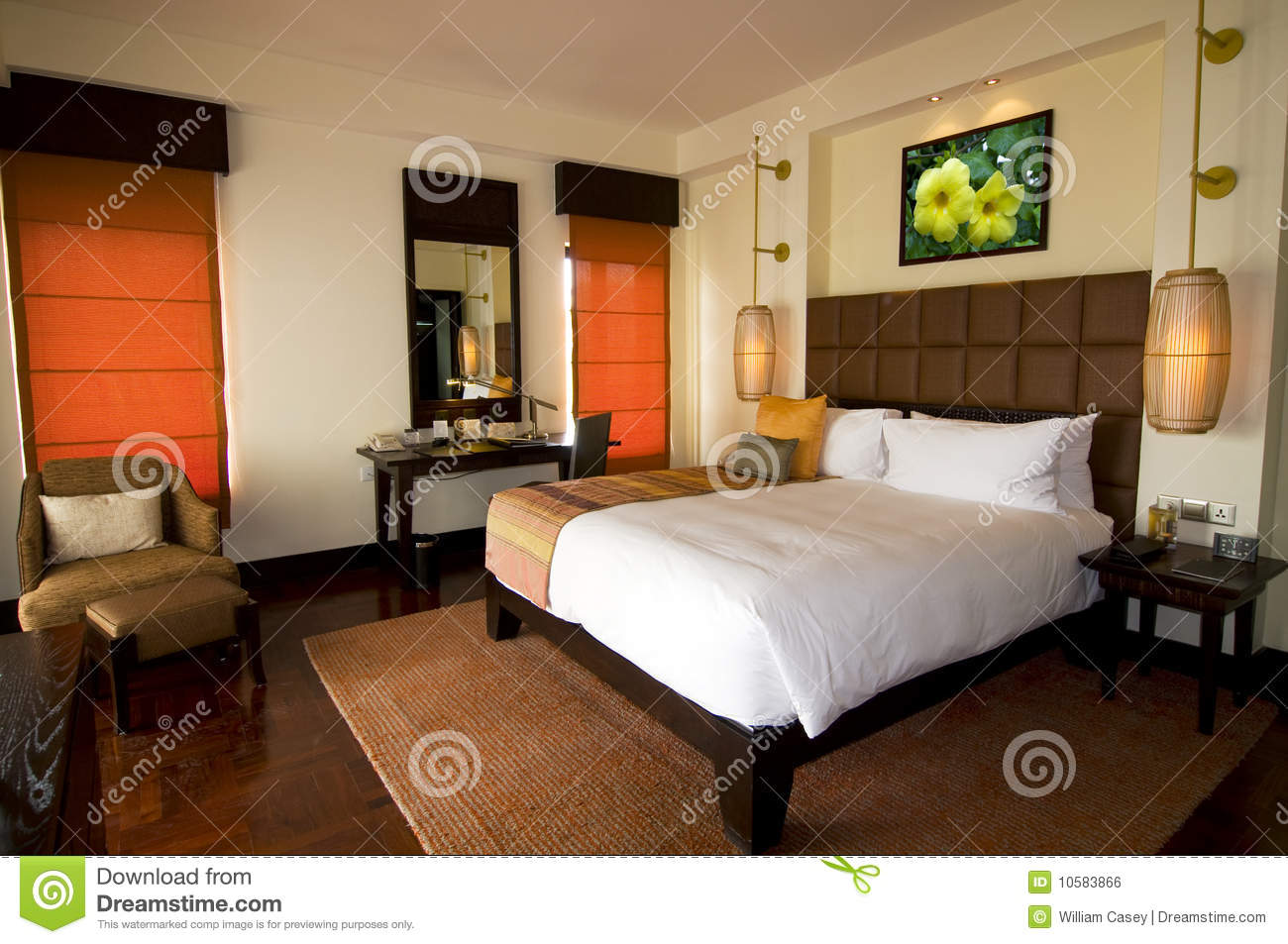 Asian Style Hotel Room At Boutique Spa Resort Royalty Free