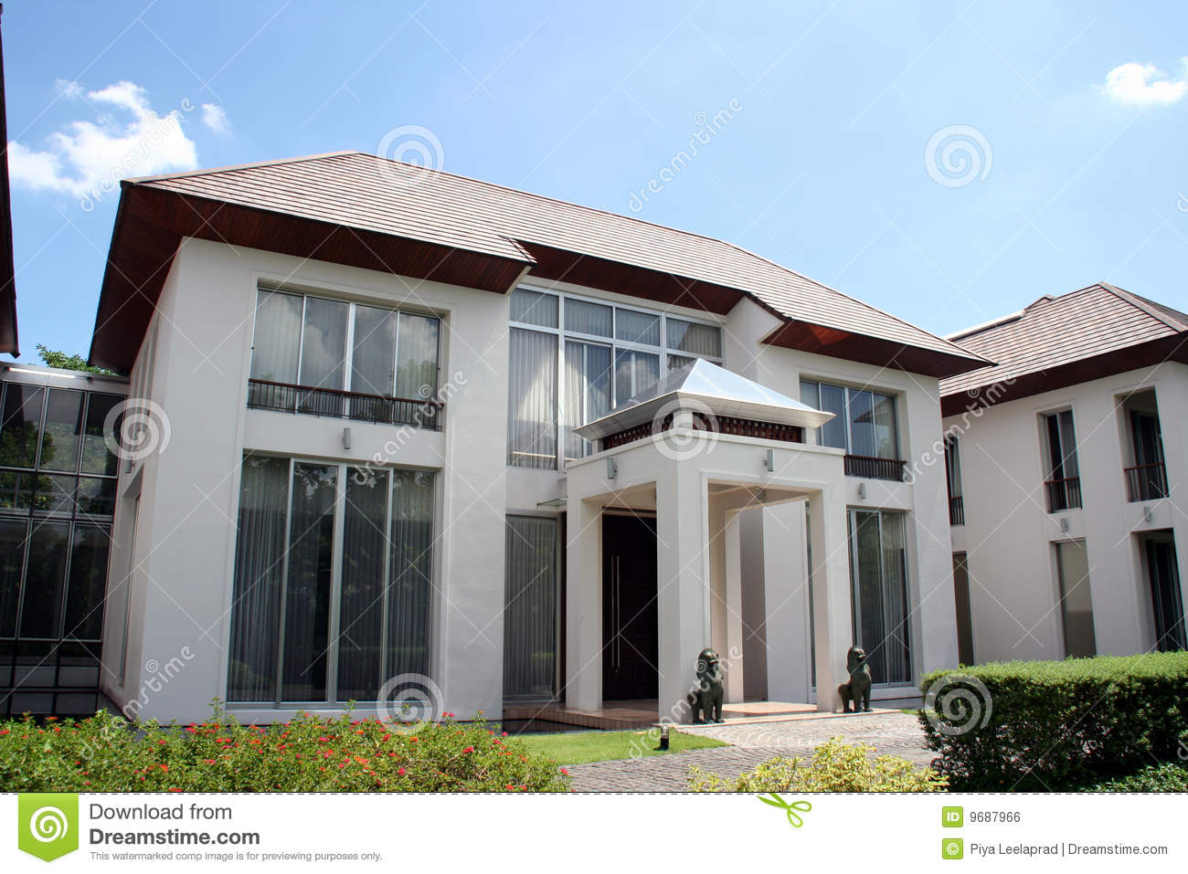 Oriental style modern house stock photo image of for Modern house look
