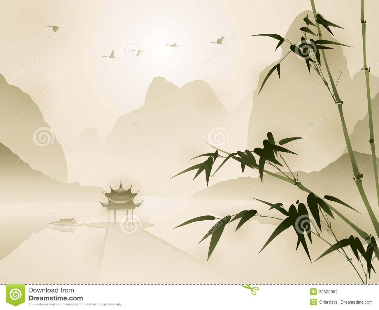 Panda Wall Mural Oriental Style Painting Bamboo In Tranquil Scene Stock