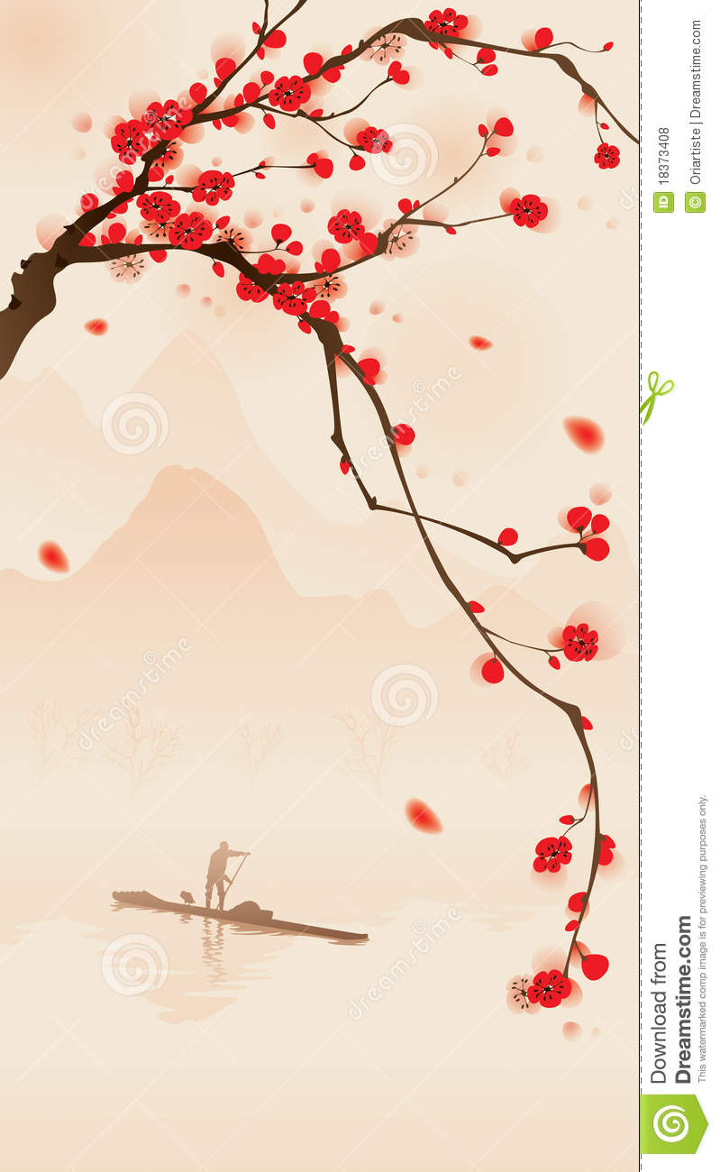 oriental style painting plum blossom in spring royalty