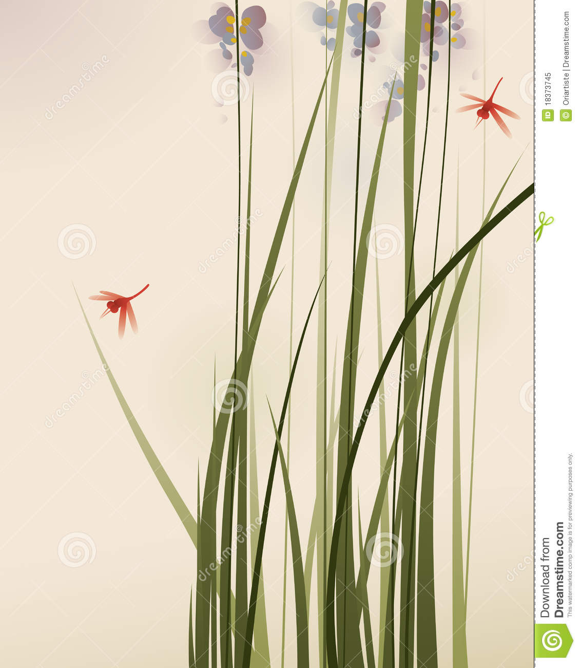 Oriental style painting tall grasses and flowers royalty for Tall oriental grass