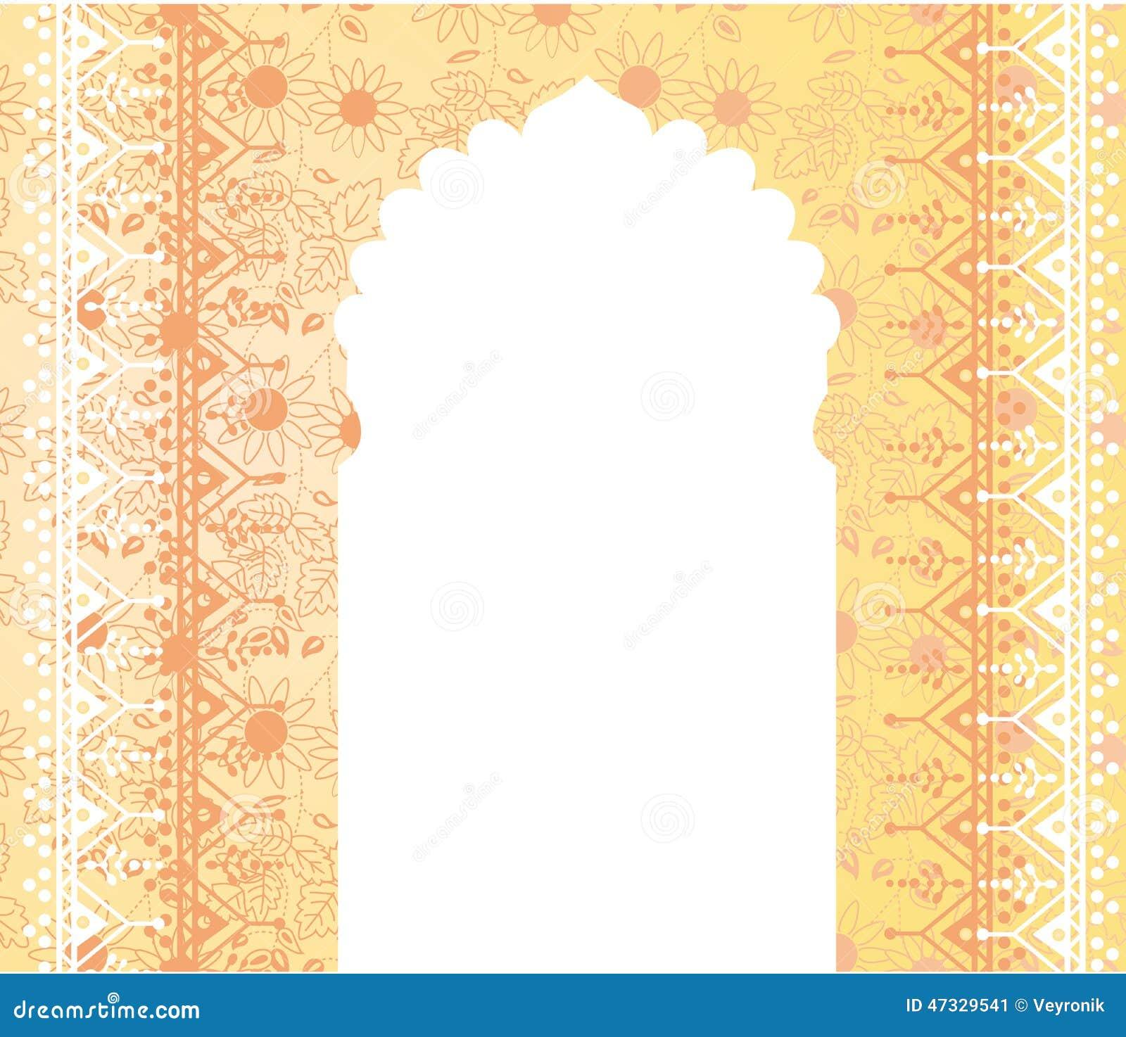 Oriental Temple Gate Floral Banner Design Stock Photo