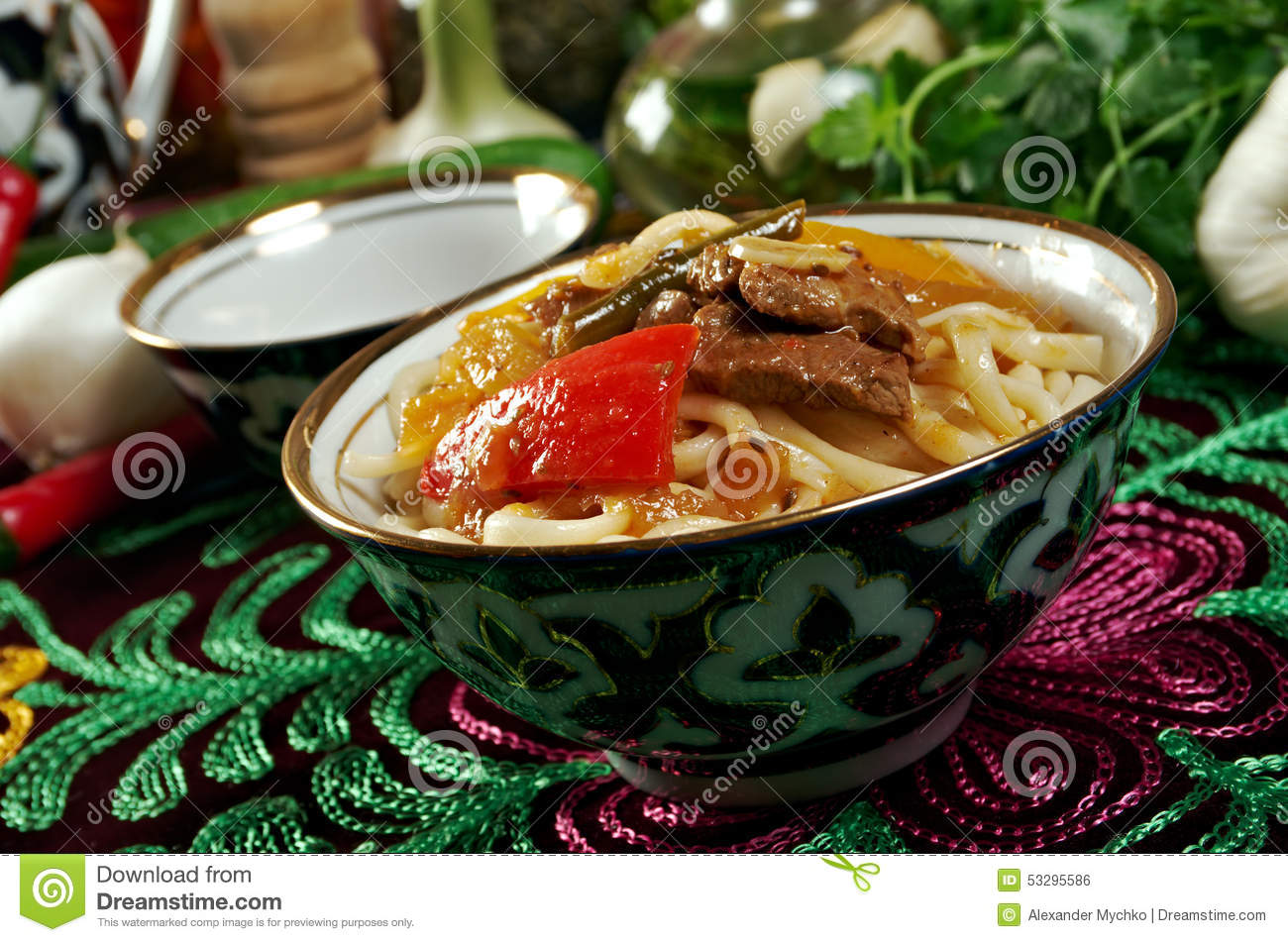 Oriental uzbek soup lagman uzbek cuisine stock photo for Asia oriental cuisine