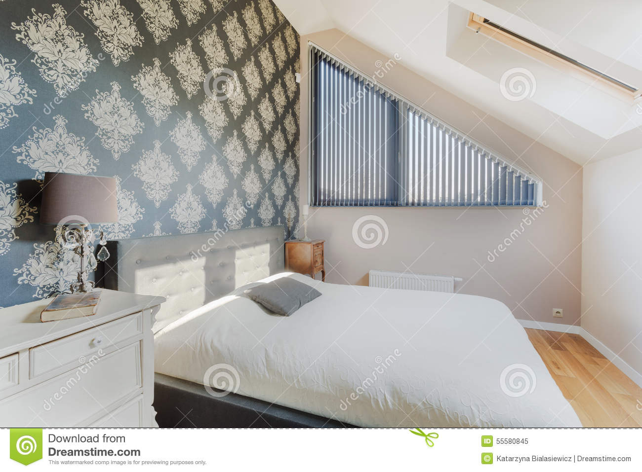 Oriental wallpaper in bedroom stock photo image 55580845 for Bright bedroom wallpaper