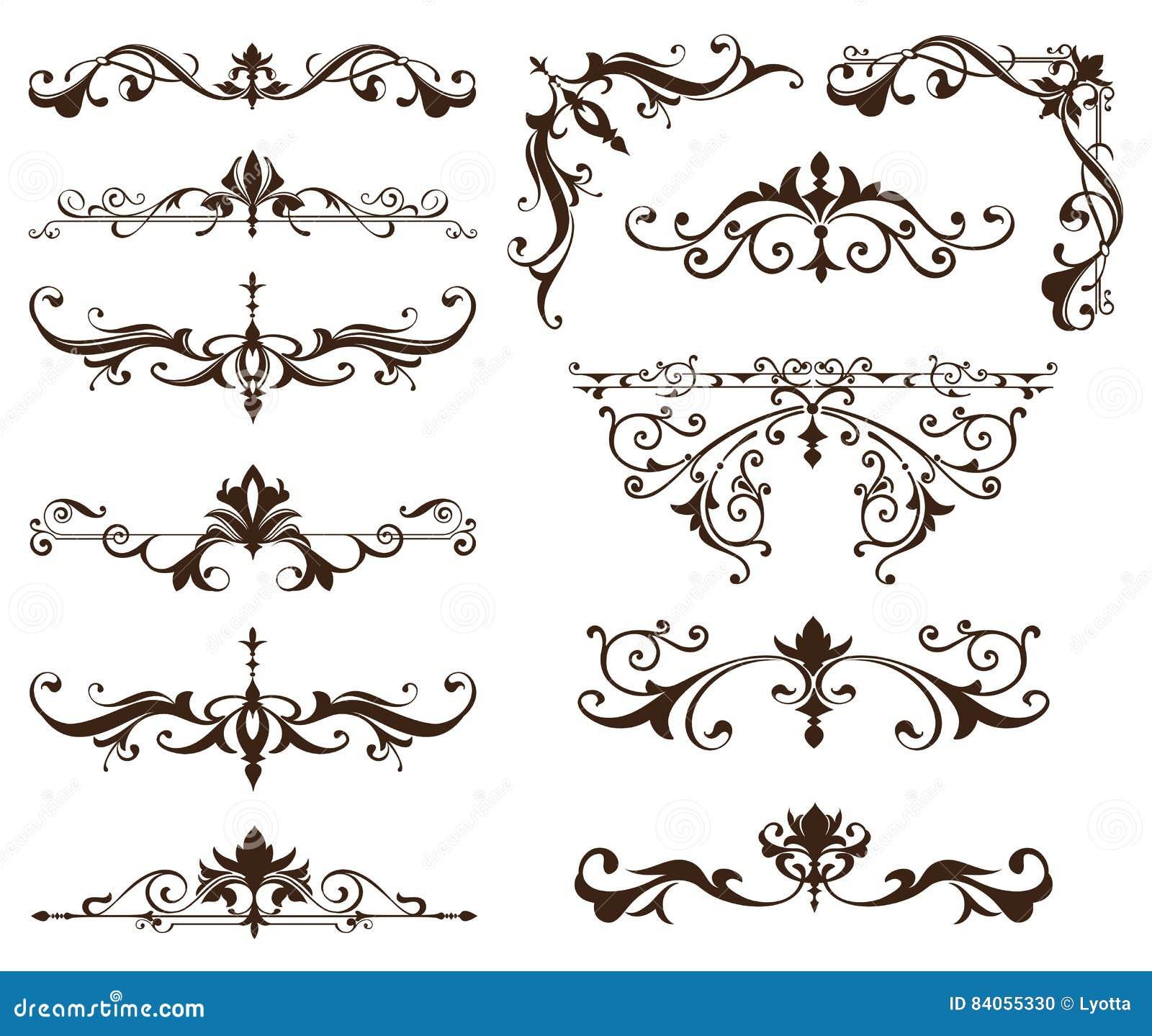 orientalische verzierungsgrenzdekorative elemente mit ecken kr uselt die arabische und indische. Black Bedroom Furniture Sets. Home Design Ideas