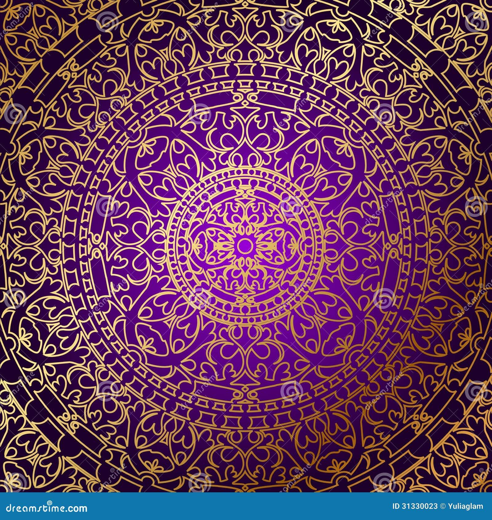 Orientalischer Purpurroter Hintergrund Mit Goldverzierung ...