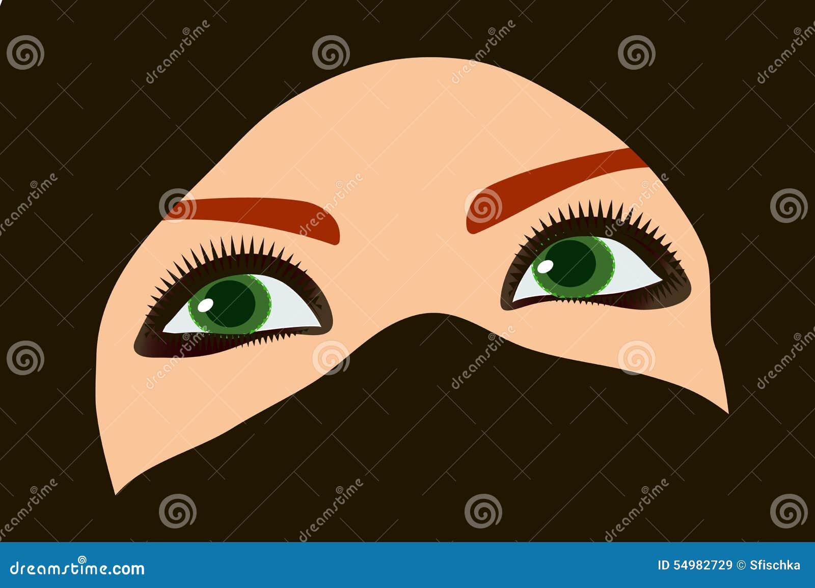 Orientalisk flicka med gröna ögon