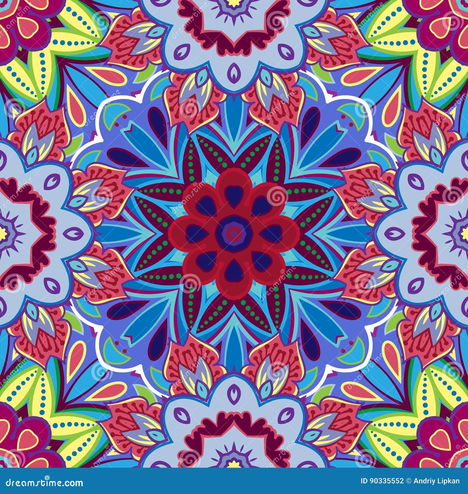 Orientalisk traditionell blom- prydnad, sömlös modell, tegelplattadesign, vektorillustration