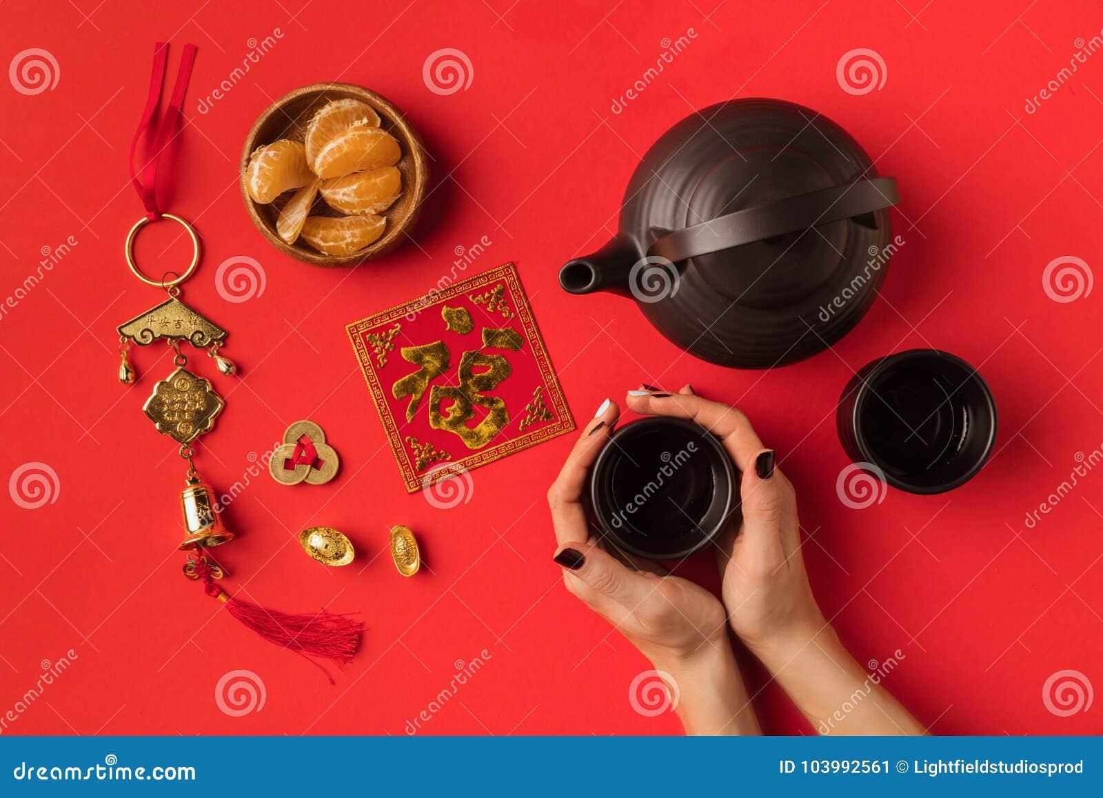 Orientalne dekoracje i herbata set