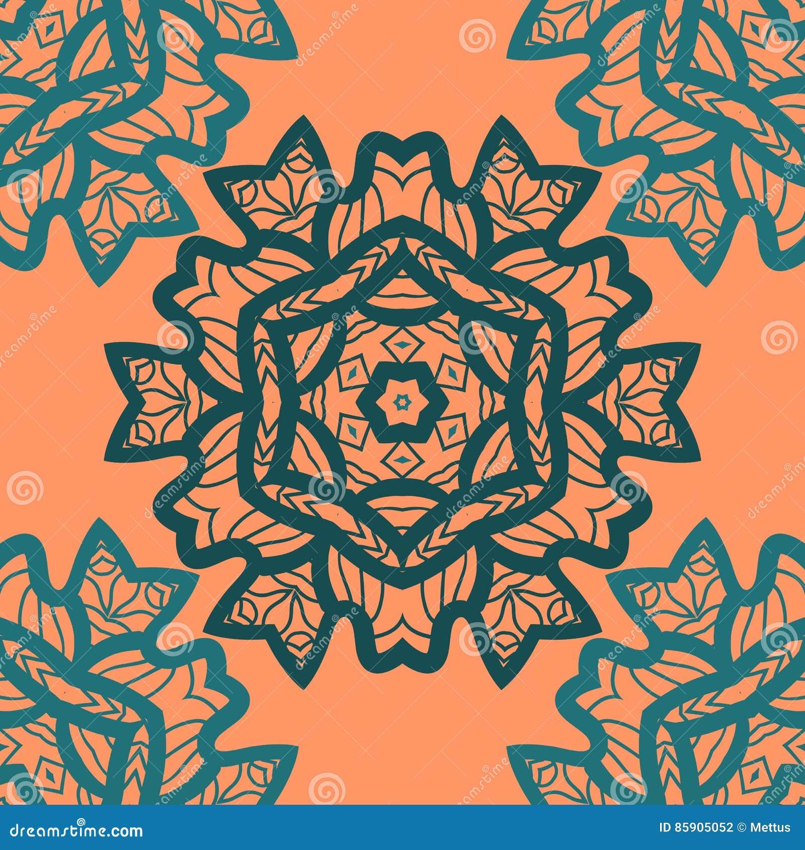 Orientalny ornamentu wzór w pomarańczowym kolorze Wektorowy dekoracyjny tło z stylizowanym kwiecistym geometrycznym ornamentem