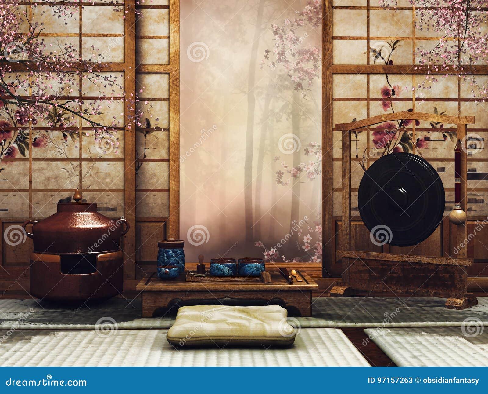 Orientalny pokój z herbata setem