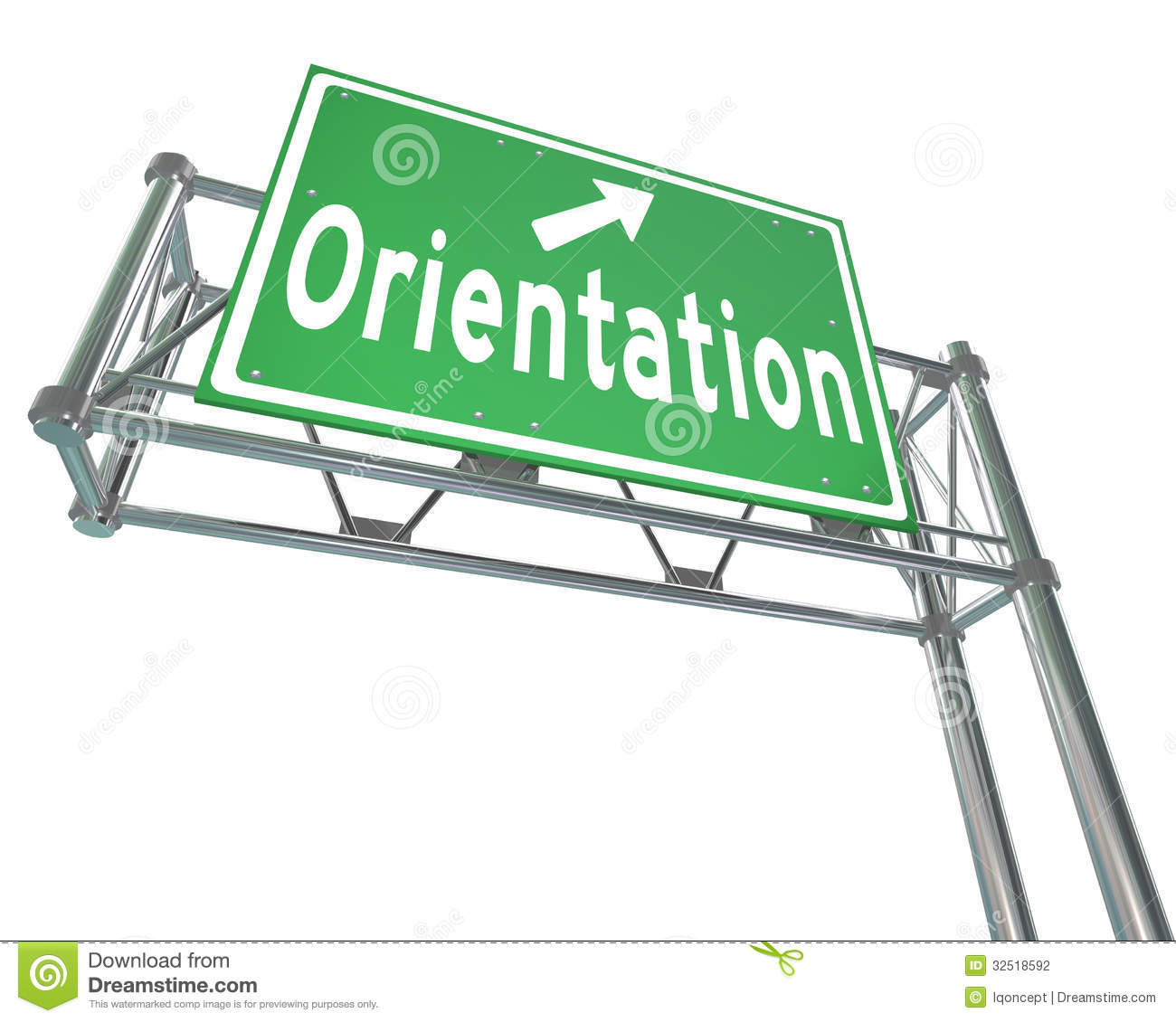 Stock Photography: Orientation Green Freeway Sign New Recruit Student ...