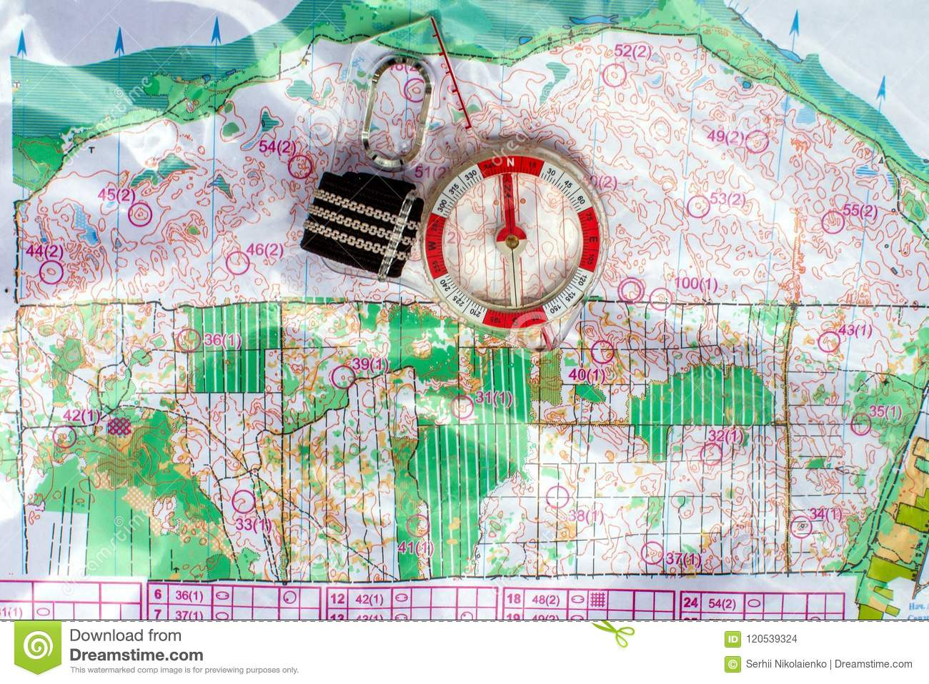 Topographic Map Games.Orienteering Compass And Topographic Map Navigation Equipment For