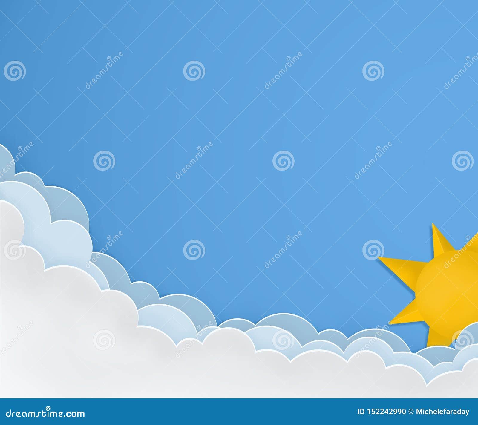 Orientering för bra väder Solig dag med solen och moln Pappers- konster planlägger