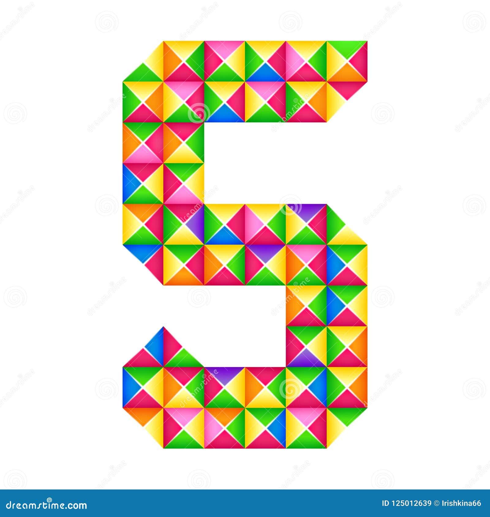Origami αριθμός 5 πέμπτη ρεαλιστική τρισδιάστατη επίδραση origami που απομονώνεται Αριθμός του αλφάβητου, ψηφίο