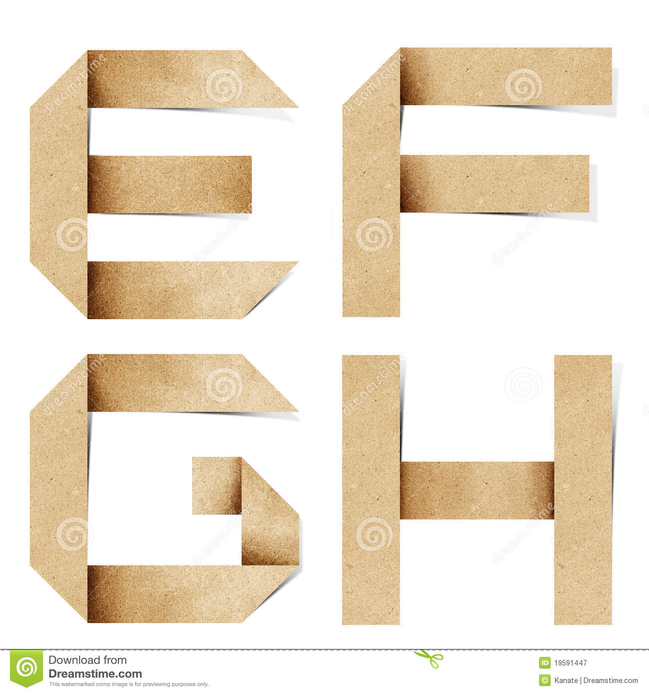 Origami alphabet letters recycled paper craft royalty free for Alphabet letters cardboard