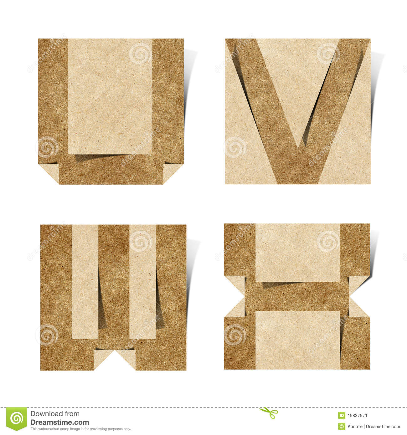 Origami alphabet letters recycled paper craft stock image for Alphabet letters cardboard