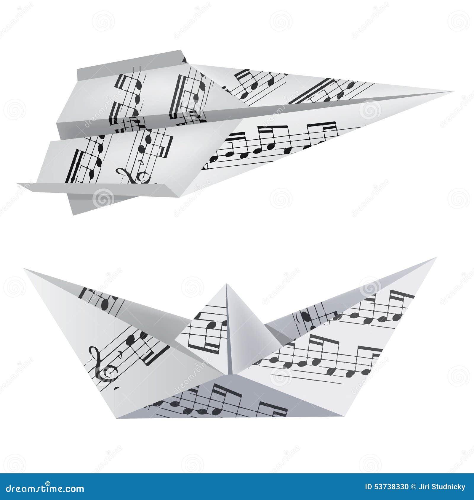 origami bateau et avion avec les notes musicales