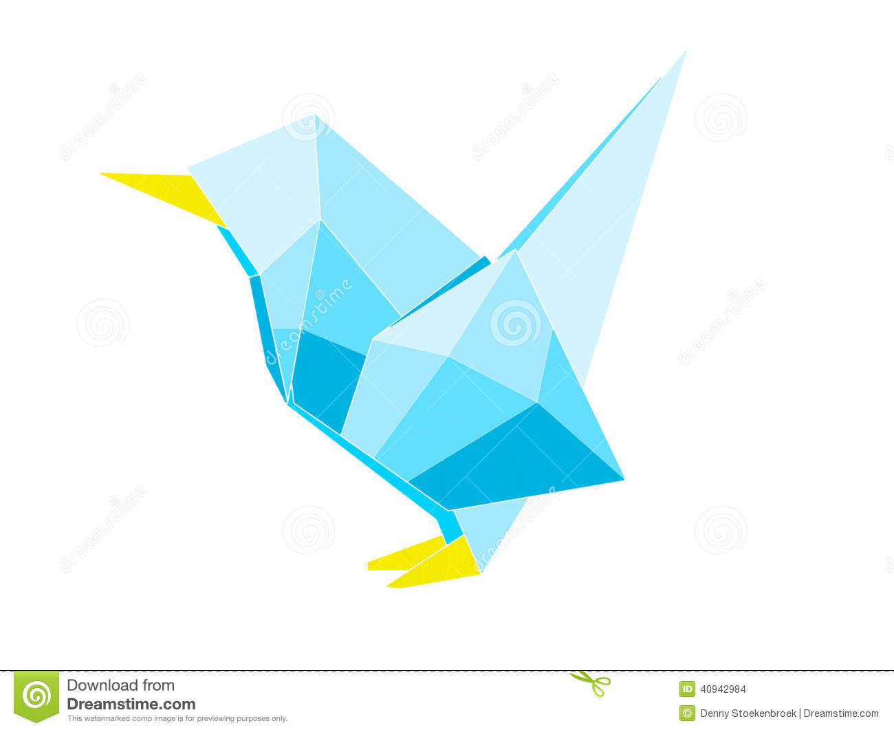 This Is A Digital Drawing Of An Origami Bird