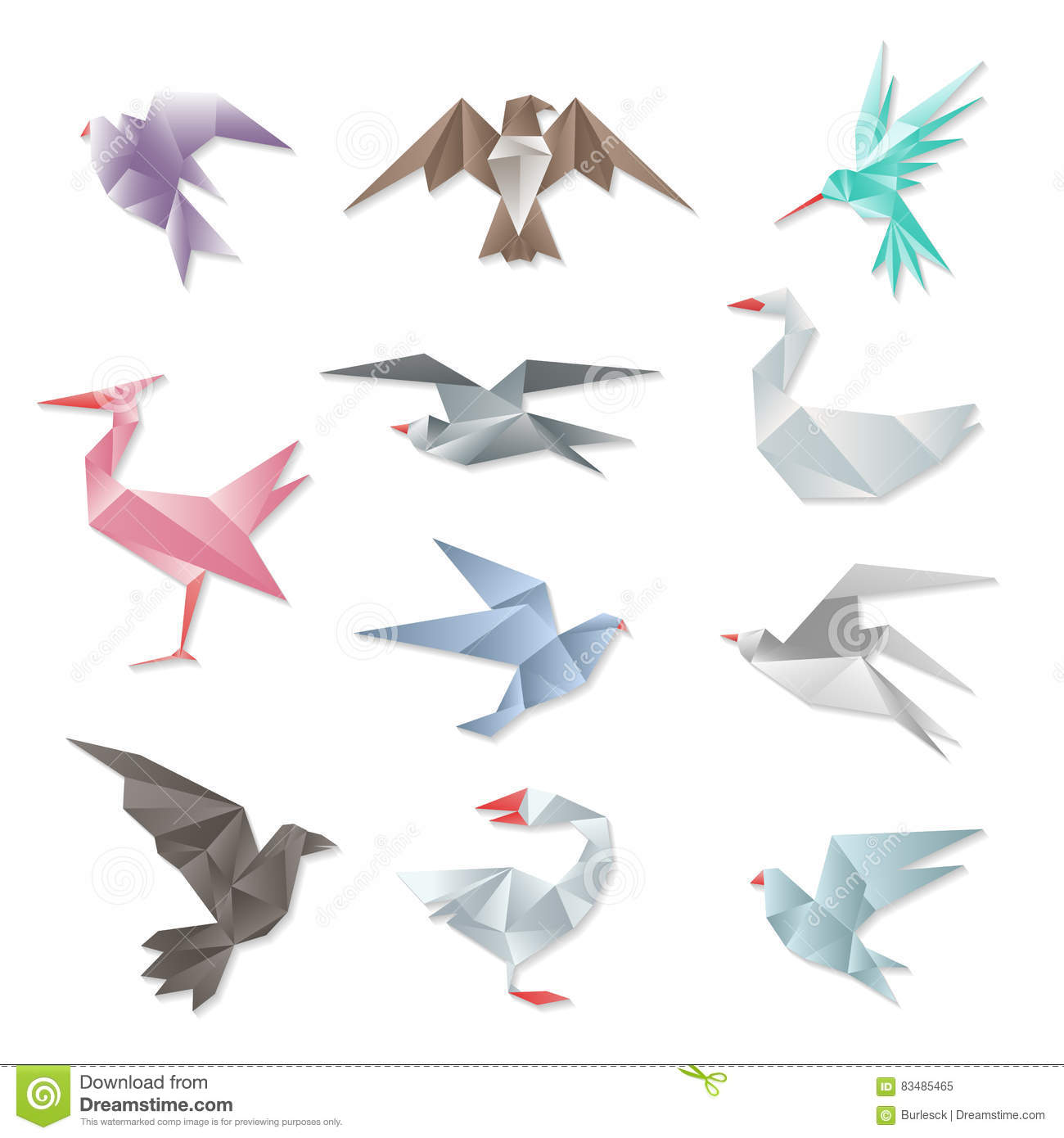 Origami Bird Set. Vector 3d Abstract Paper Flying Birds ... - photo#22