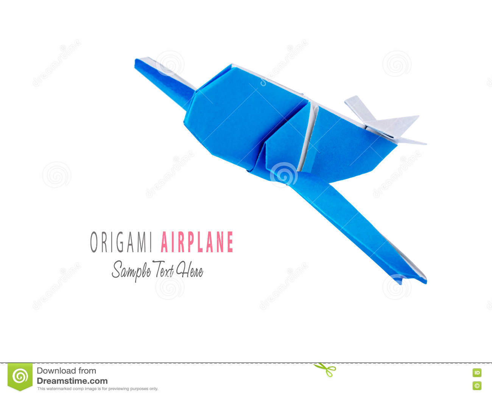 Origami blue airplane