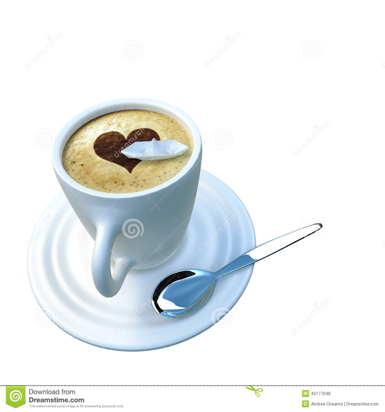 Origami Boat Floating In A Coffee Cup Stock Illustration ... - photo#46