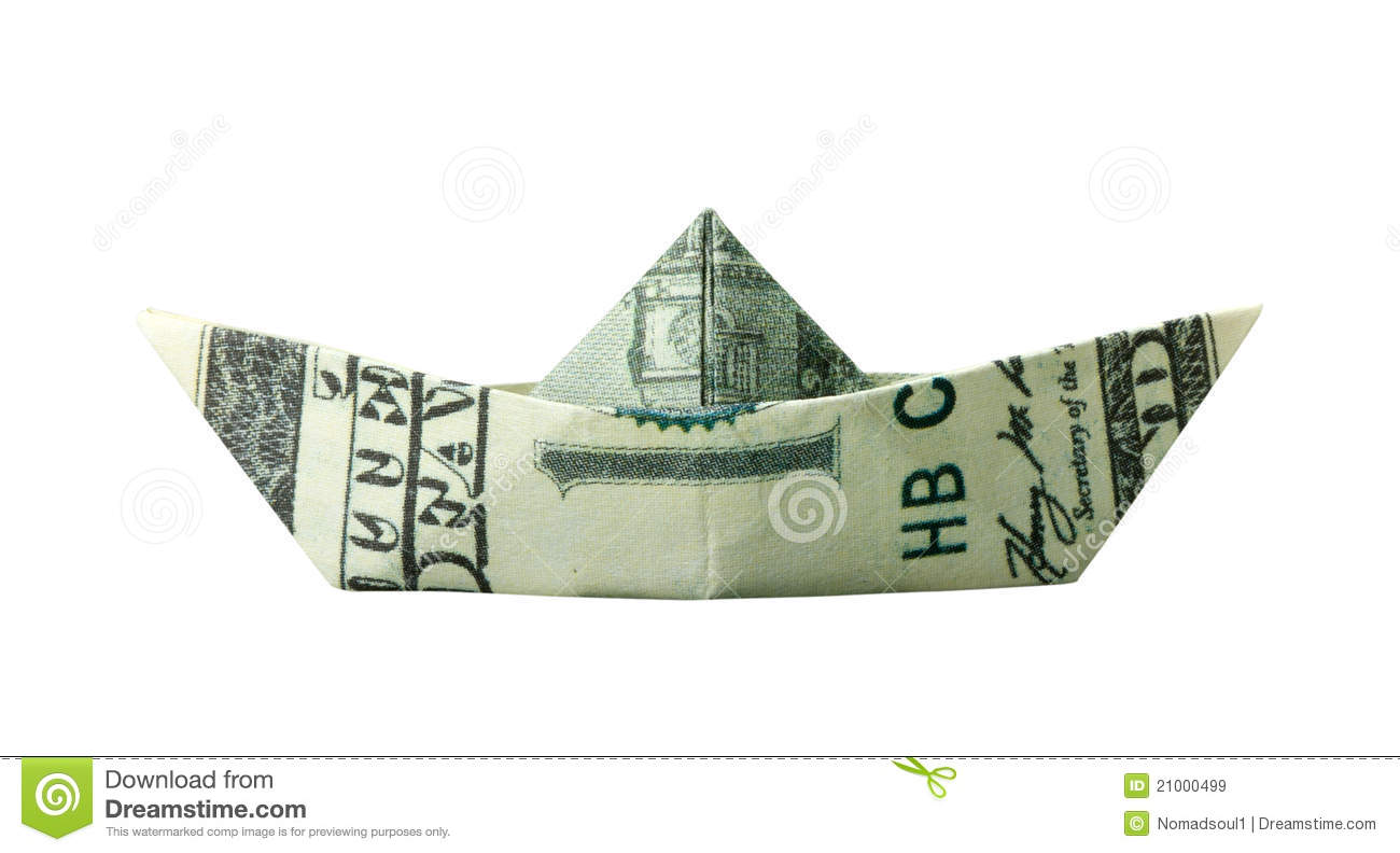 Origami Boat Folded From $100 Banknote Stock Image - Image: 21000499