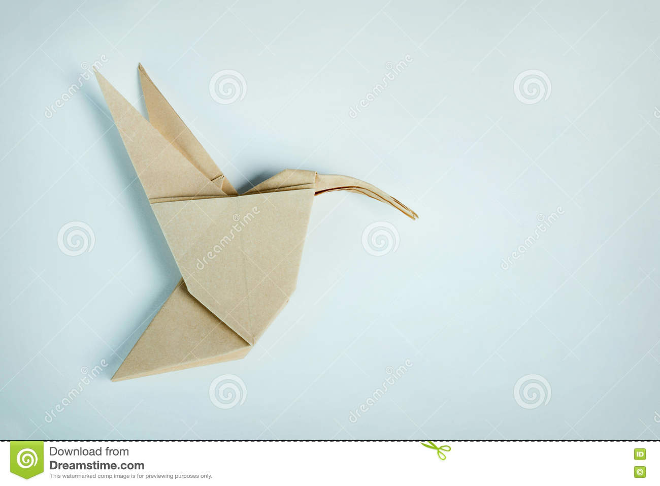 Origami Brown Paper Hummingbird Stock Image Image Of Climate