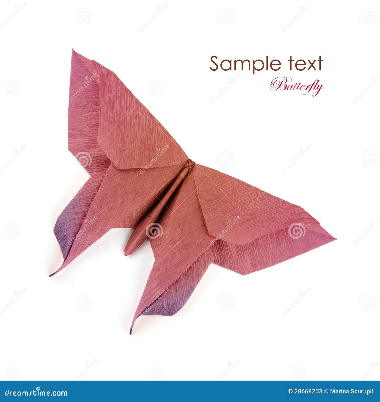 Origami brown purpurowy motyl