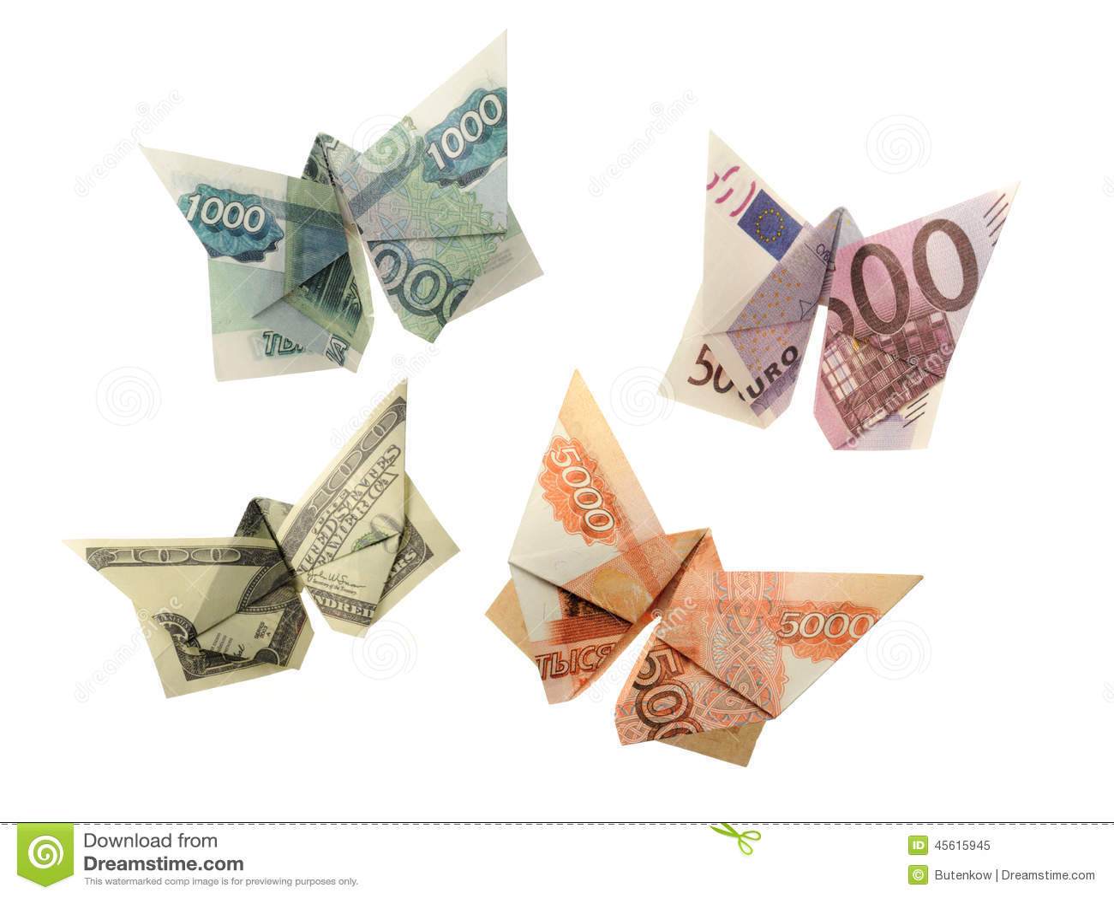 Origami Butterflies Euro, Dollar, Ruble Stock Photo ... - photo#40