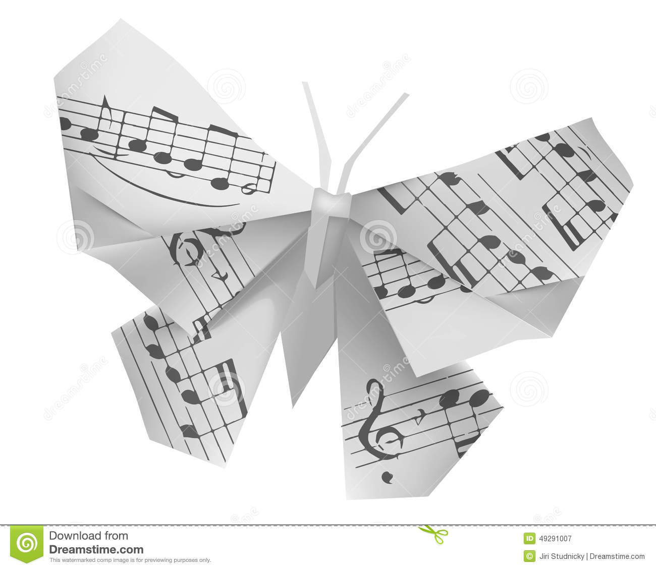 origami butterfly with musical notes stock vector image