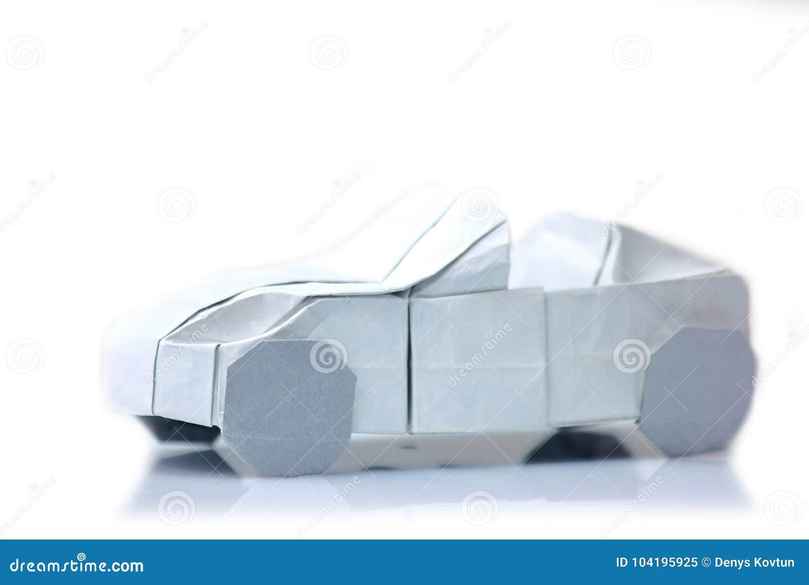 Origami Car Model On White Stock Image Image Of Figure 104195925