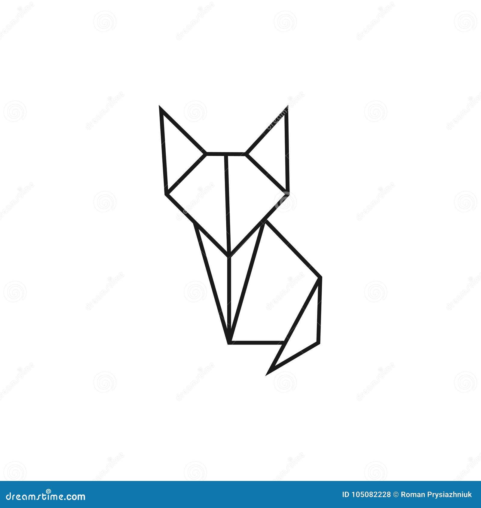 Origami Cat. Geometric Line Shape For Art Of Folded Paper