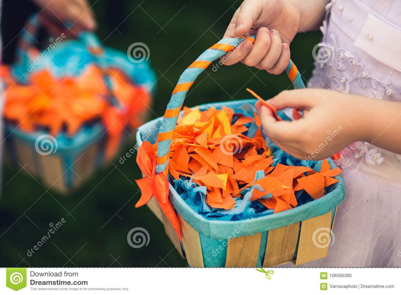 Origami Of Colored Paper In A Basket Wedding Decor Of Colored P