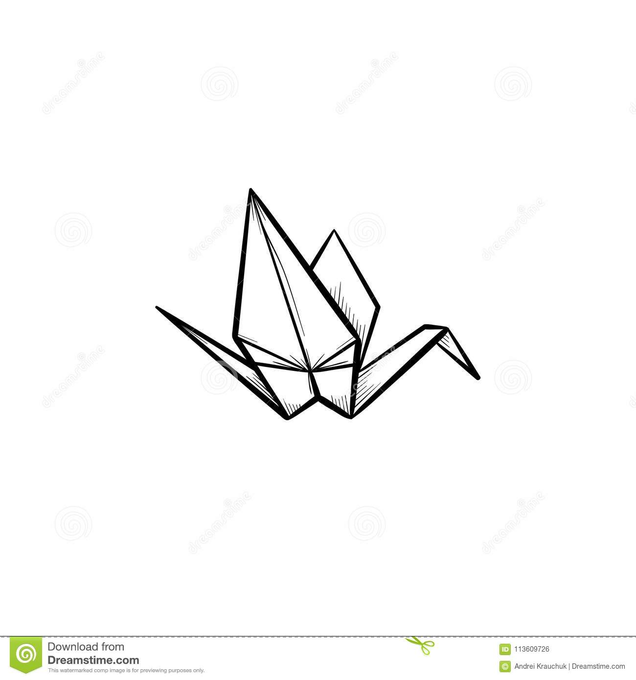 Origami Crane Hand Drawn Sketch Icon Stock Vector