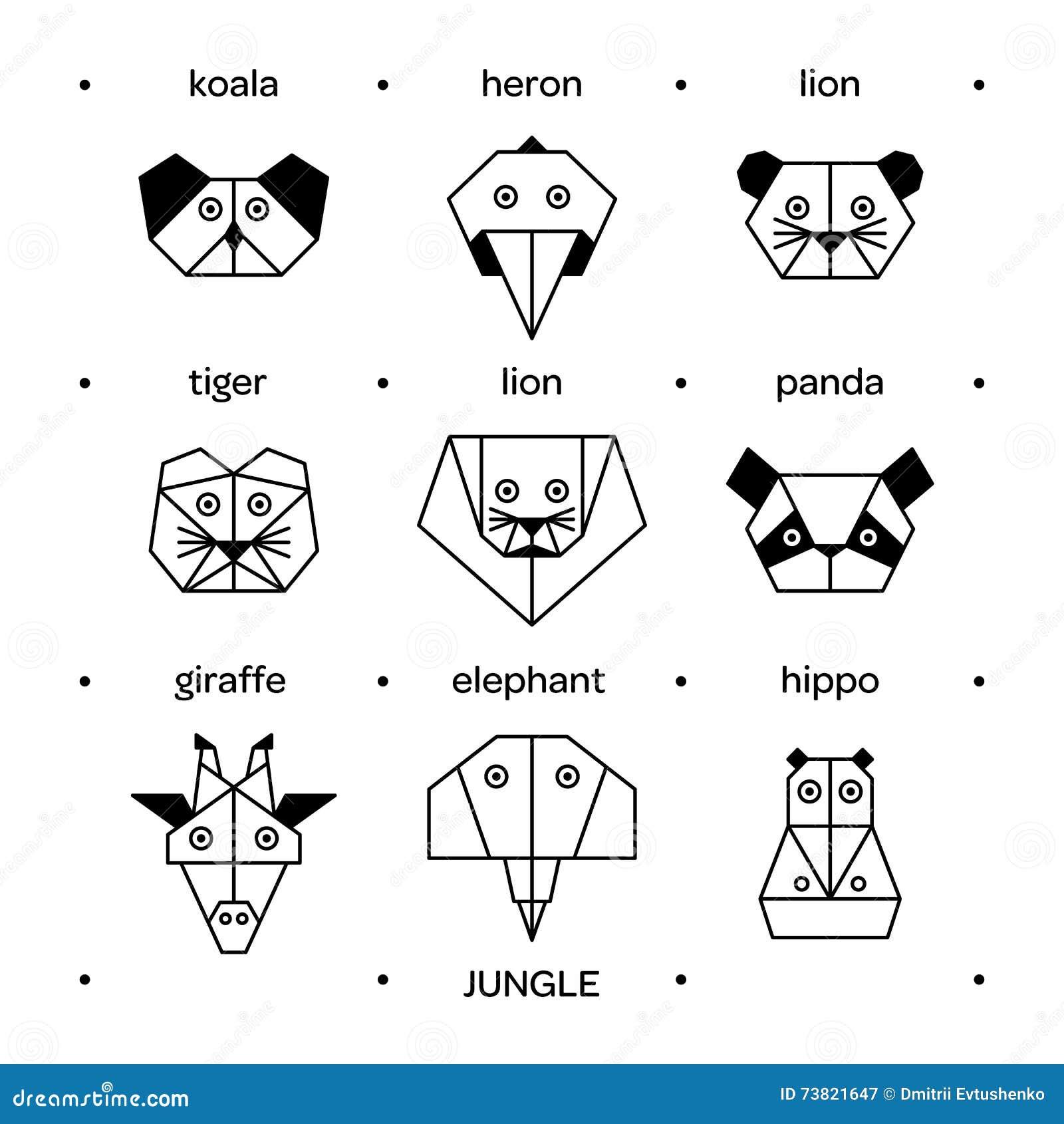 Origami 3 De Jungle D Animaux Illustration De Vecteur