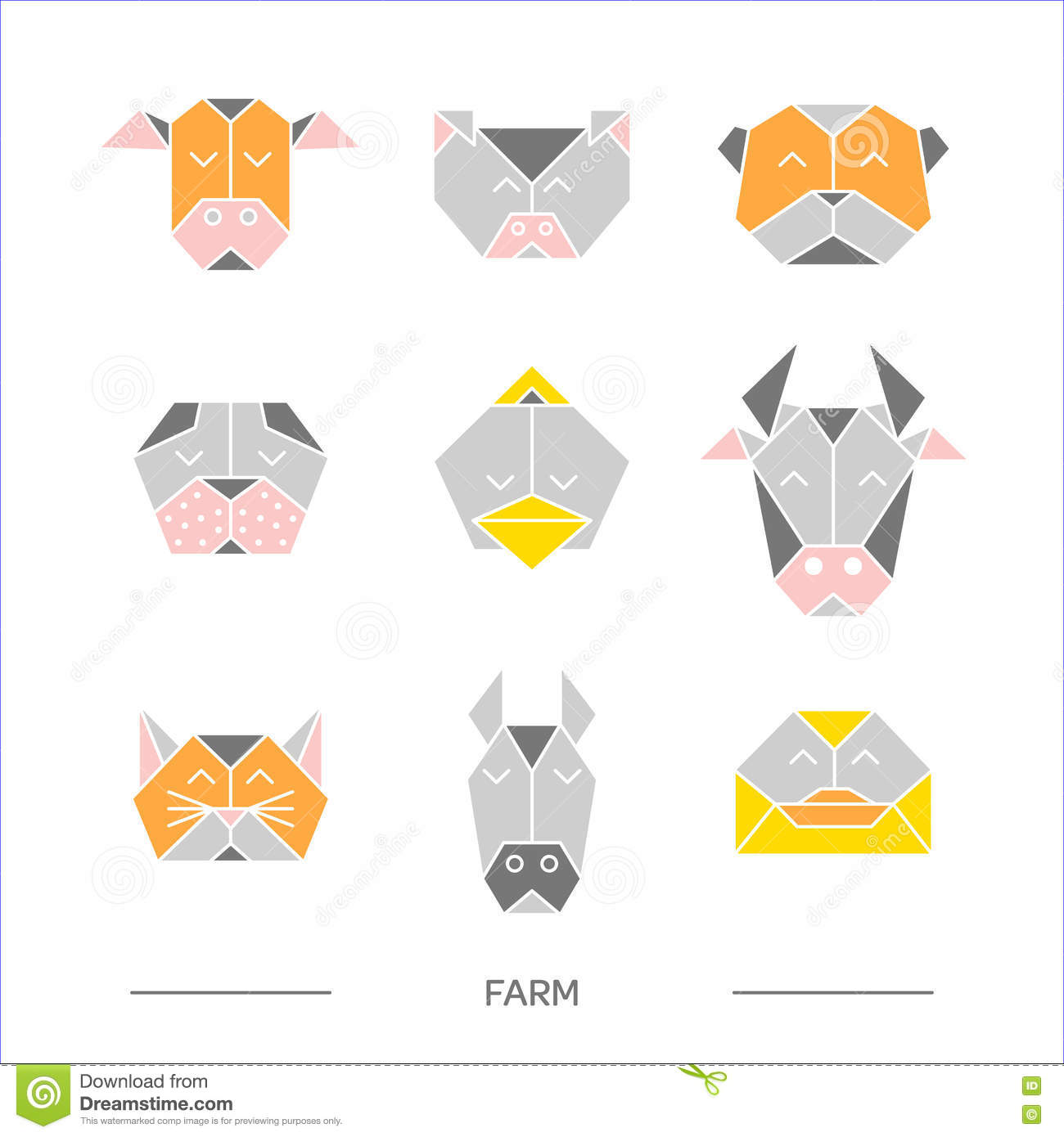 Origami 10 De La Ferme D Animaux Illustration De Vecteur