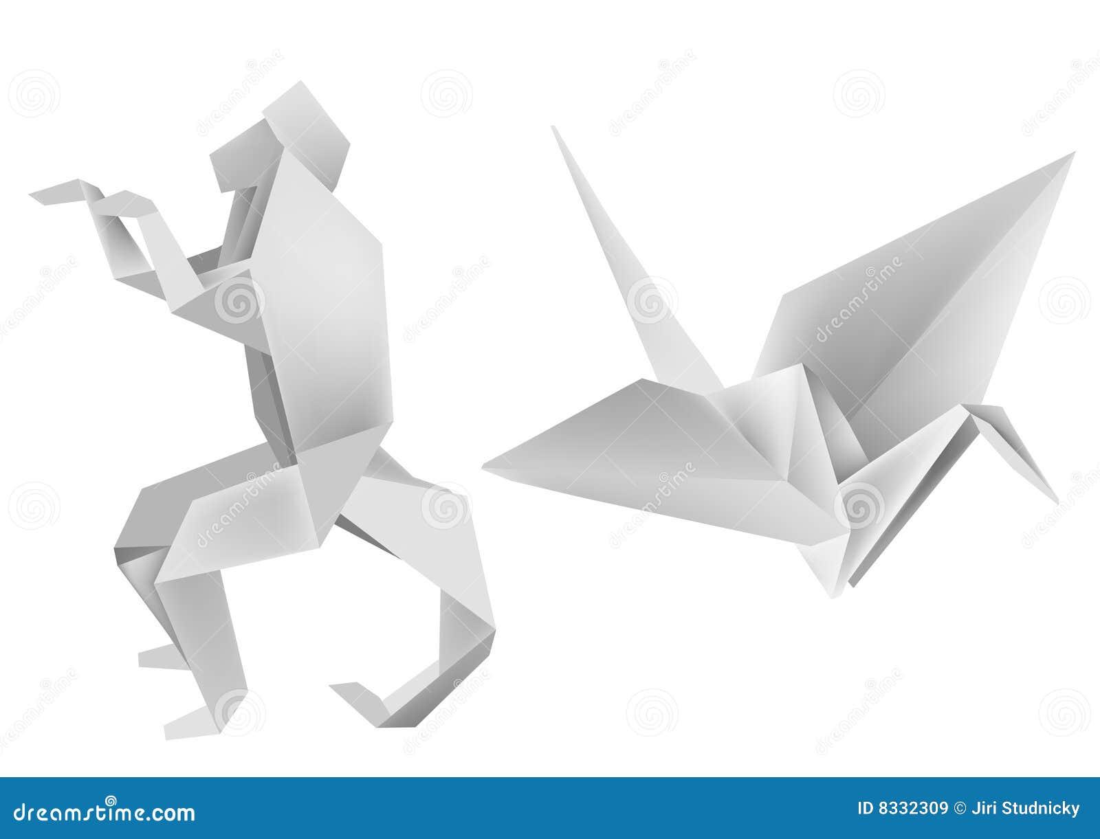 Origami De Singe De Grue Illustration De Vecteur Illustration Du