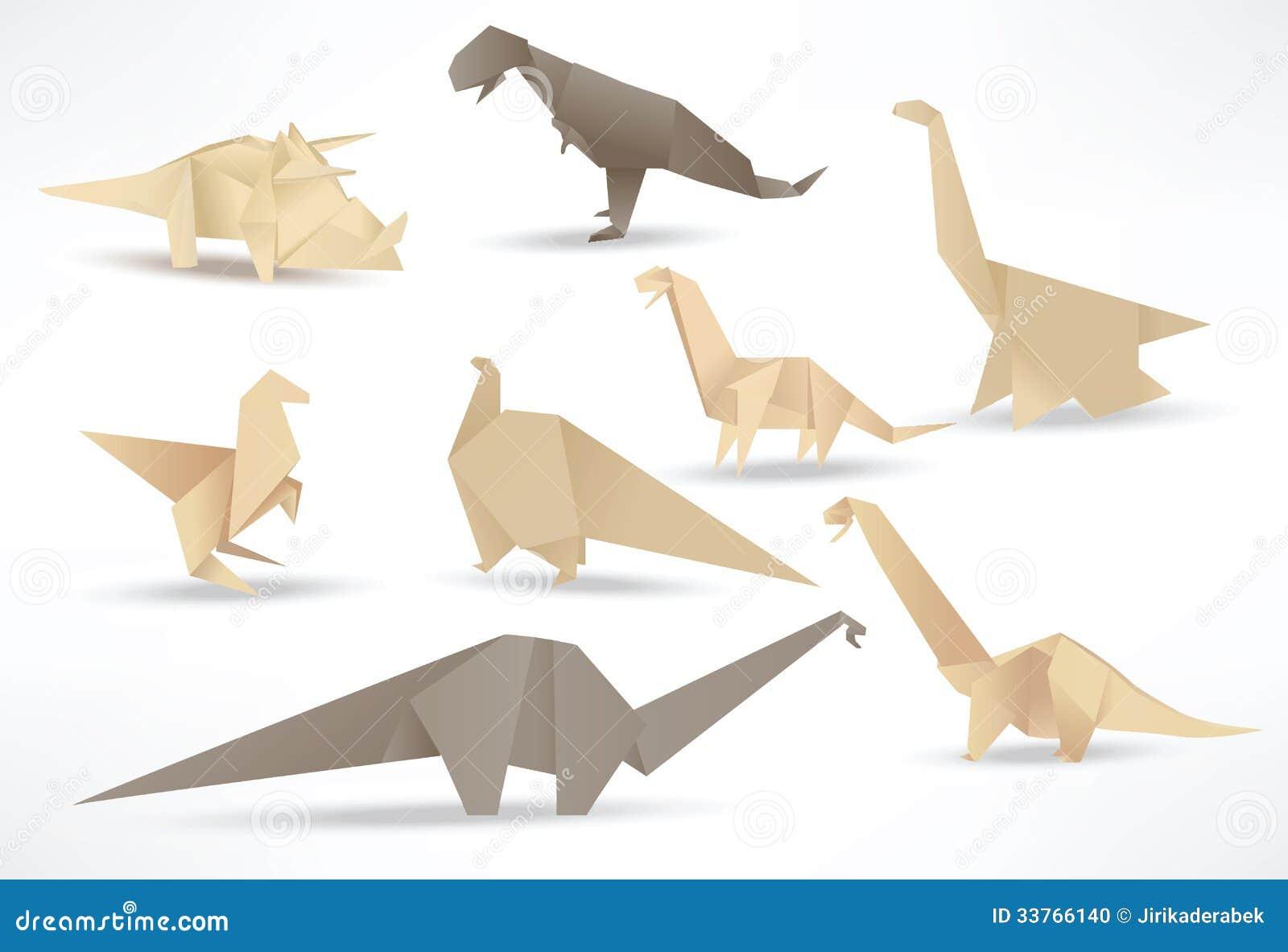 Origami Dinosaurs Sepia Tone Stock Vector