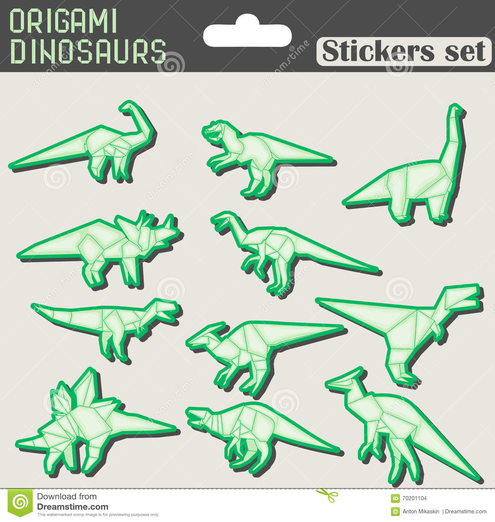 Origami dinosaurs stickers set stock vector illustration of origami dinosaurs stickers set print glue jeuxipadfo Choice Image