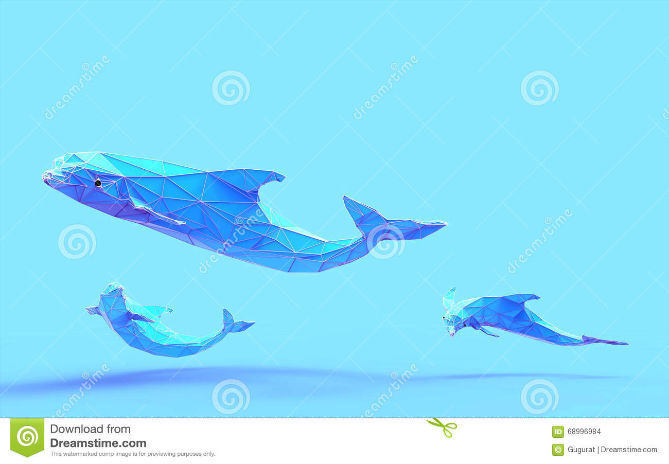 Origami Dolphin Low Poly Stock Illustration Of Design