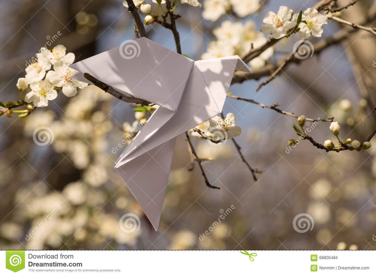 Origami Dove On Blooming Spring Tree Stock Photo - Image ... - photo#44